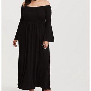 TORRID Worn 2X Off Shoulder bell sleeve maxi dress